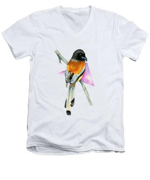 Oriole Bird With Triangle Watercolor Painting Men's V-Neck T-Shirt