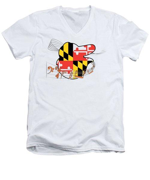 Oriole Sheet Music Design Men's V-Neck T-Shirt by Justin Canose