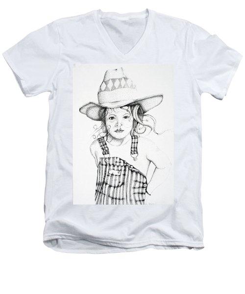 Men's V-Neck T-Shirt featuring the drawing Osh Kosh by Mayhem Mediums