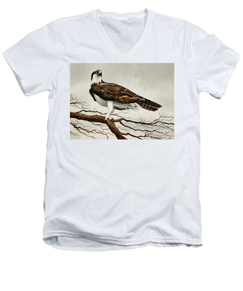 Osprey Sea Hawk Men's V-Neck T-Shirt by James Williamson