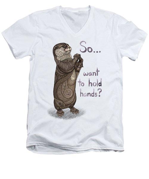 Otter Valentine Men's V-Neck T-Shirt by ZH Field
