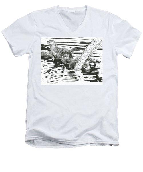 Otters Three Men's V-Neck T-Shirt