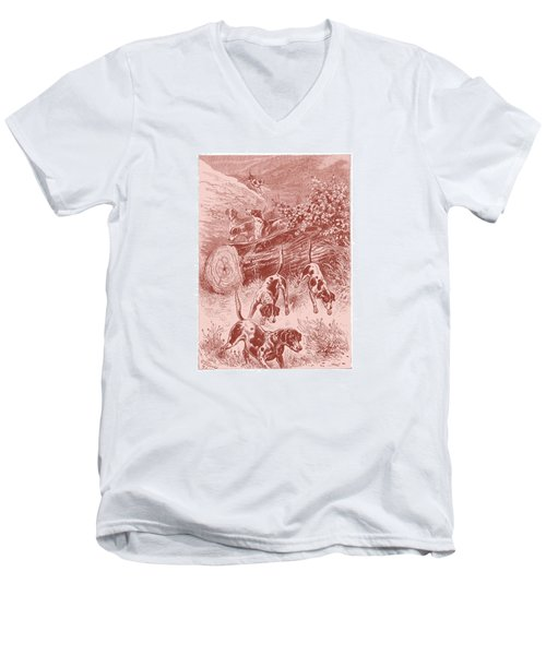 Men's V-Neck T-Shirt featuring the drawing Out Foxing by David Davies