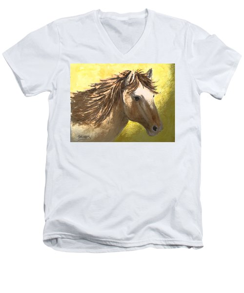 Men's V-Neck T-Shirt featuring the painting Out Of The Sun by Carol Grimes