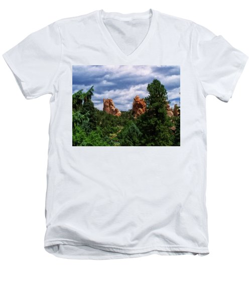 Men's V-Neck T-Shirt featuring the digital art outcroppings in Colorado Springs by Chris Flees