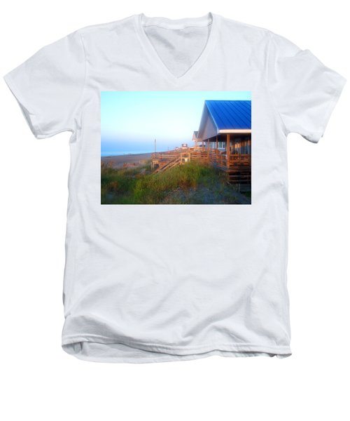 Men's V-Neck T-Shirt featuring the photograph Outerbanks Sunrise At The Beach by Sandi OReilly