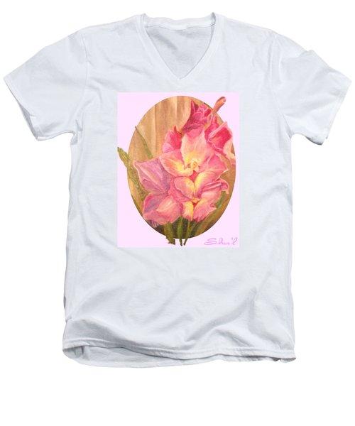 Oval Gladiolas               11x14 Men's V-Neck T-Shirt by Sherril Porter