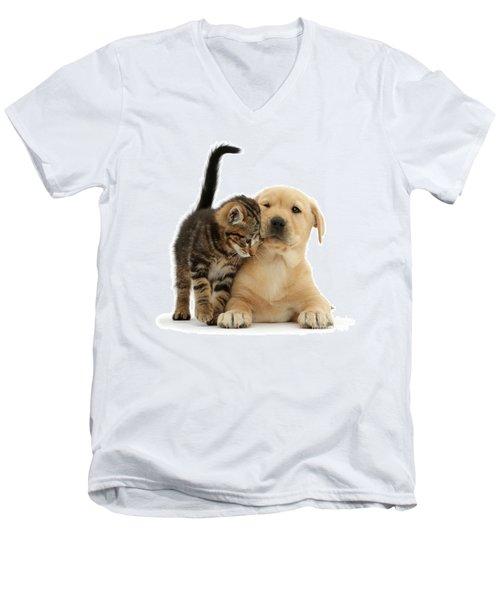 Over Friendly Kitten Men's V-Neck T-Shirt