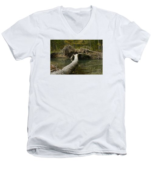 Over On Clover Men's V-Neck T-Shirt by Randy Bodkins