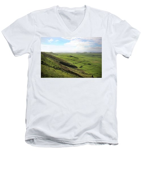 Over The Rim On Terceira Island, The Azores Men's V-Neck T-Shirt by Kelly Hazel
