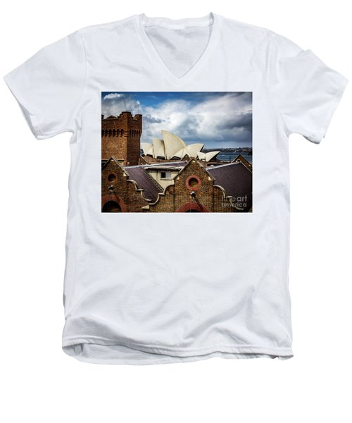 Men's V-Neck T-Shirt featuring the photograph Over The Roof Tops by Perry Webster