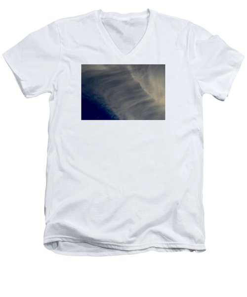 Men's V-Neck T-Shirt featuring the photograph Overhead Cirrus  by Lyle Crump