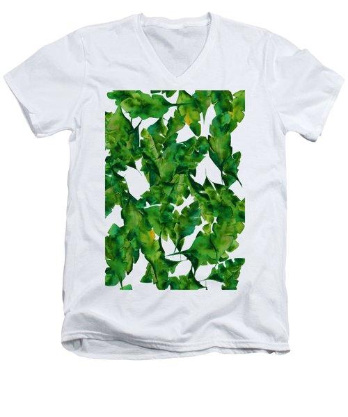 Overlapping Leaves Men's V-Neck T-Shirt by Cortney Herron