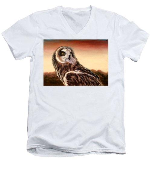 Owl At Sunset Men's V-Neck T-Shirt