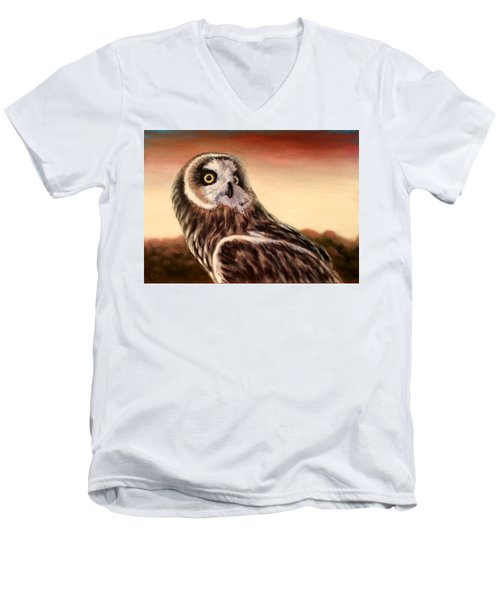 Owl At Sunset Men's V-Neck T-Shirt