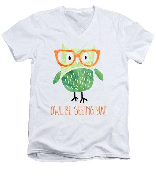 Owl Be Seeing Ya Men's V-Neck T-Shirt by Natalie Kinnear