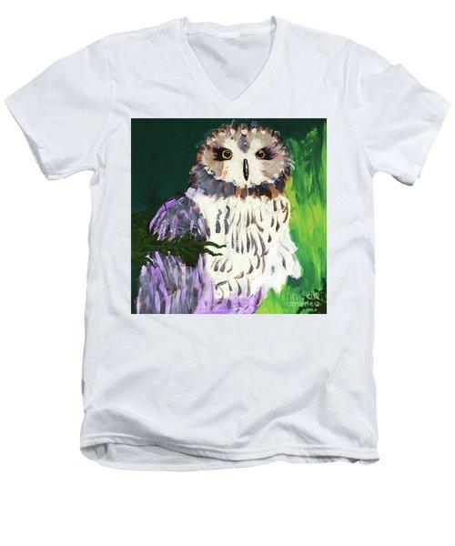 Owl Behind A Tree Men's V-Neck T-Shirt