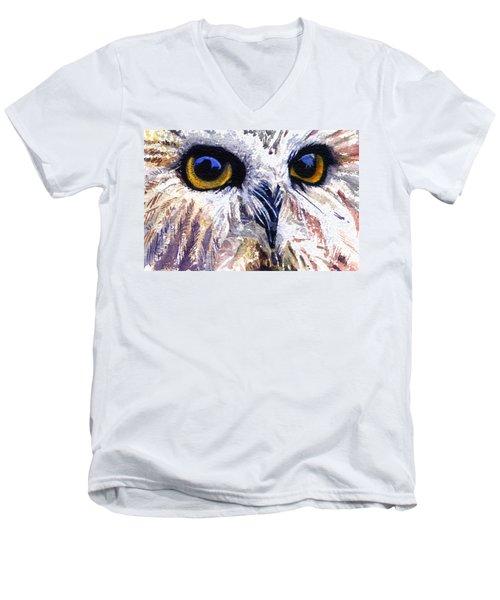 Owl Men's V-Neck T-Shirt by John D Benson