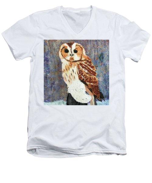 Owl On Snow Men's V-Neck T-Shirt by Donald J Ryker III