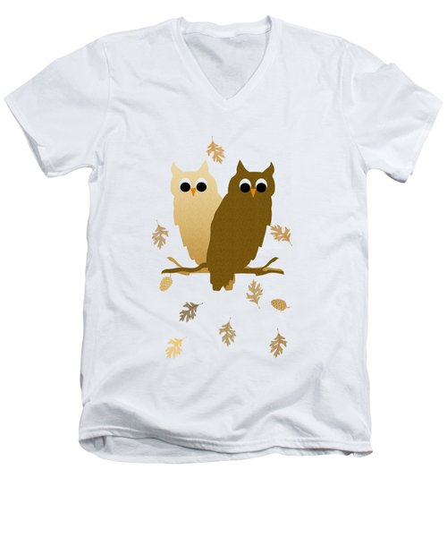Owl Pattern Men's V-Neck T-Shirt