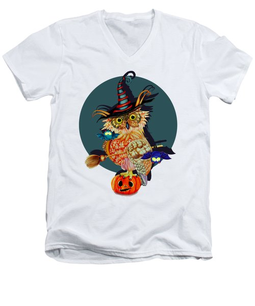Owl Scary Men's V-Neck T-Shirt by Isabel Salvador