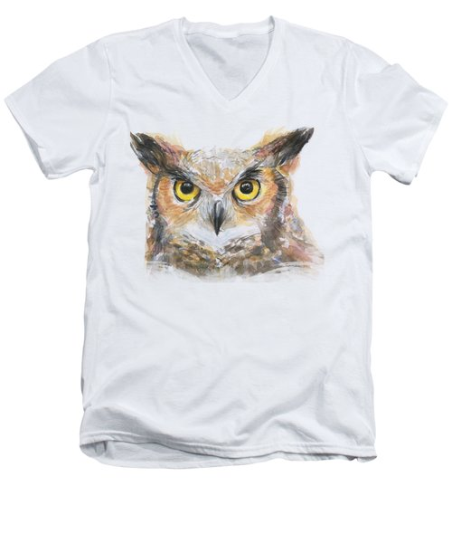 Owl Watercolor Portrait Great Horned Men's V-Neck T-Shirt by Olga Shvartsur