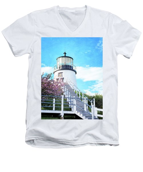 Owl's Head Light In Early June Men's V-Neck T-Shirt
