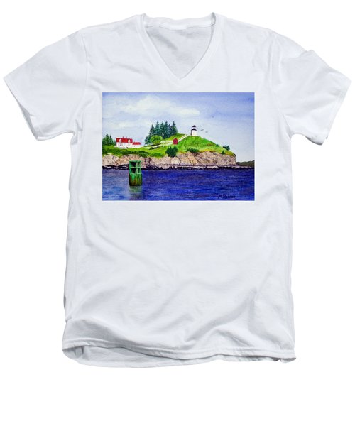 Owls Head Lighthouse Men's V-Neck T-Shirt by Mike Robles