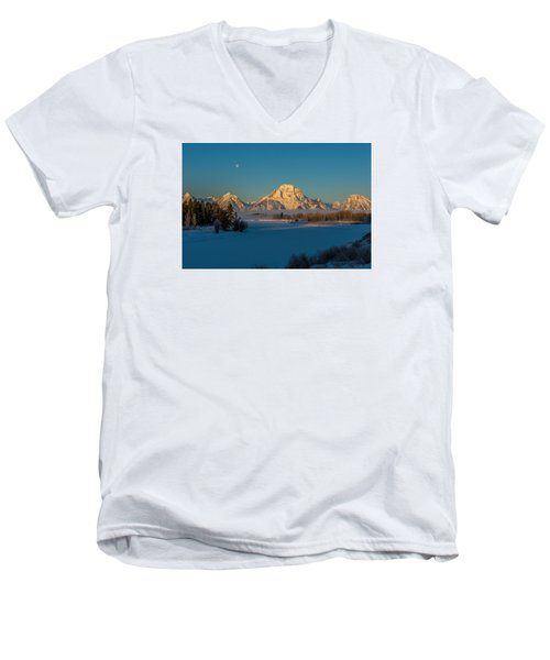 Oxbow Bend In Late Winter Men's V-Neck T-Shirt by Yeates Photography