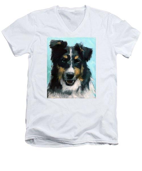 Ozzie Animal Dog Portrait Men's V-Neck T-Shirt
