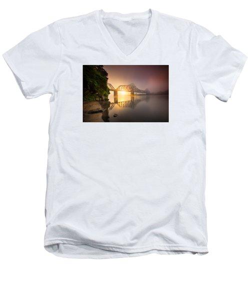 P And Le Ohio River Railroad Bridge Men's V-Neck T-Shirt by Emmanuel Panagiotakis