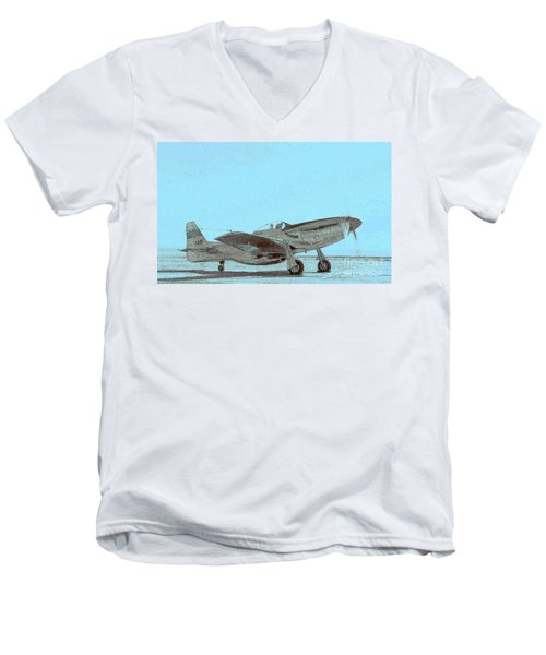 P51 Warmup Men's V-Neck T-Shirt by Greg Moores