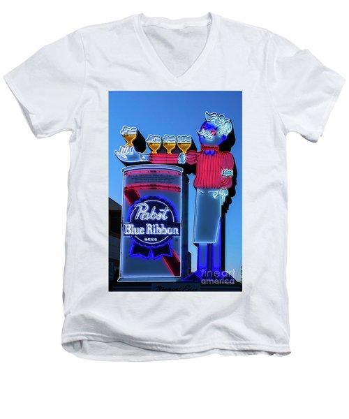 Pabst Blue Ribbon Neon Sign Fremont Street Men's V-Neck T-Shirt by Aloha Art
