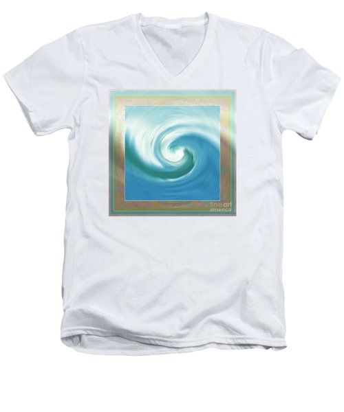 Pacific Swirl With Border Men's V-Neck T-Shirt