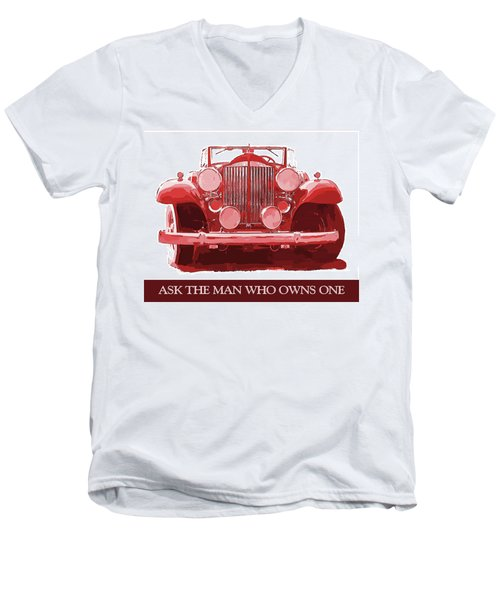 Packard Ask The Man Red Men's V-Neck T-Shirt