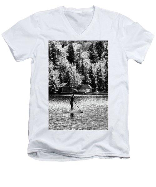 Paddleboarding On Old Forge Pond Men's V-Neck T-Shirt