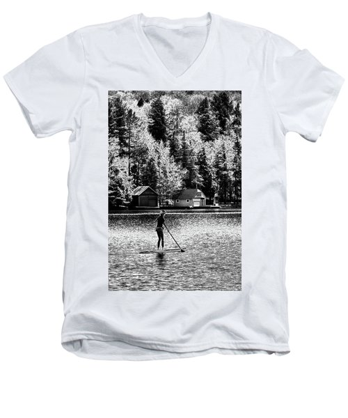 Paddleboarding On Old Forge Pond Men's V-Neck T-Shirt