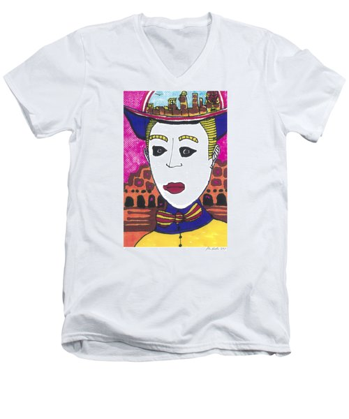 Men's V-Neck T-Shirt featuring the painting Pagliacci  Italy by Don Koester