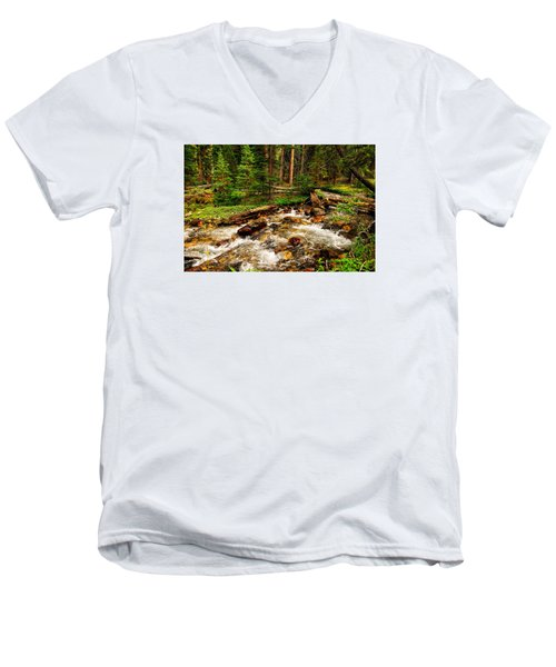 Pahsimeroi Cascades Men's V-Neck T-Shirt by Greg Norrell