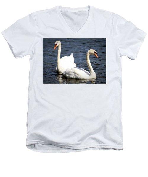 Painted Mute Swans Of Lake Junaluska North Carolina II Men's V-Neck T-Shirt
