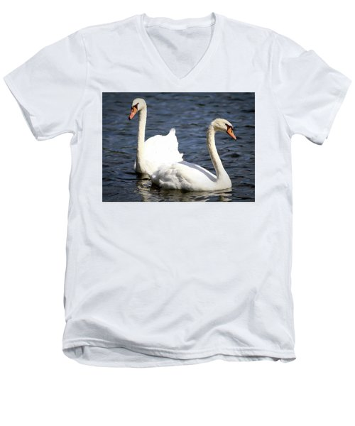 Painted Mute Swans Of Lake Junaluska North Carolina II Men's V-Neck T-Shirt
