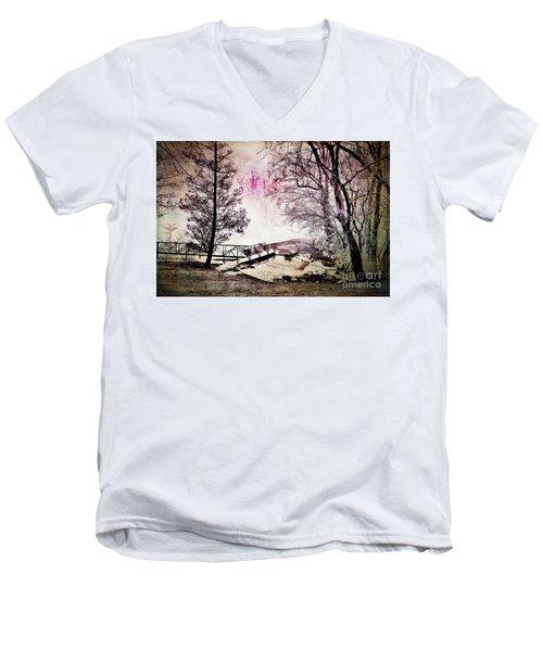 Men's V-Neck T-Shirt featuring the photograph Painted Trees by Judy Wolinsky