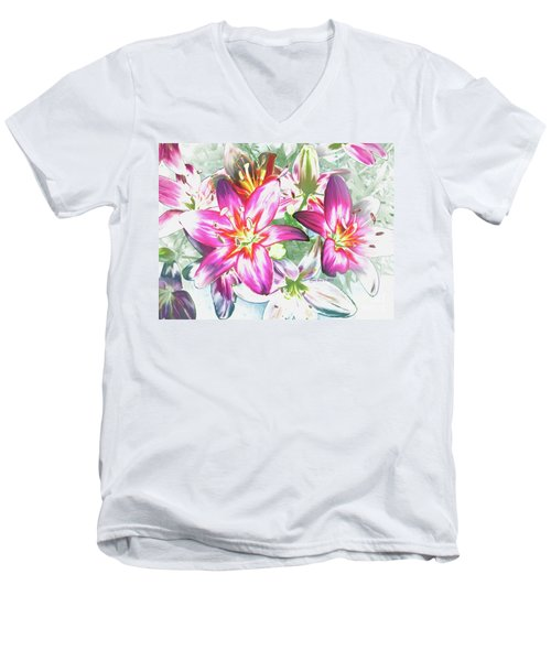 Painterly Pink Tiger Lilies Men's V-Neck T-Shirt by Annie Zeno