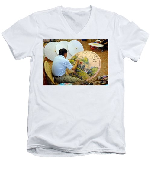 Painting Chinese Oil-paper Umbrellas Men's V-Neck T-Shirt by Yali Shi