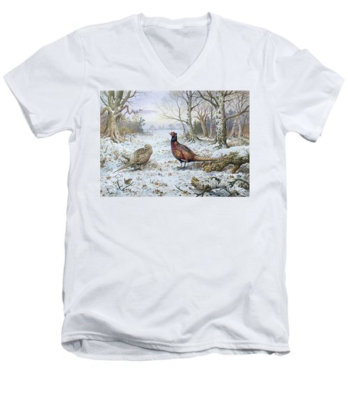 Pair Of Pheasants With A Wren Men's V-Neck T-Shirt