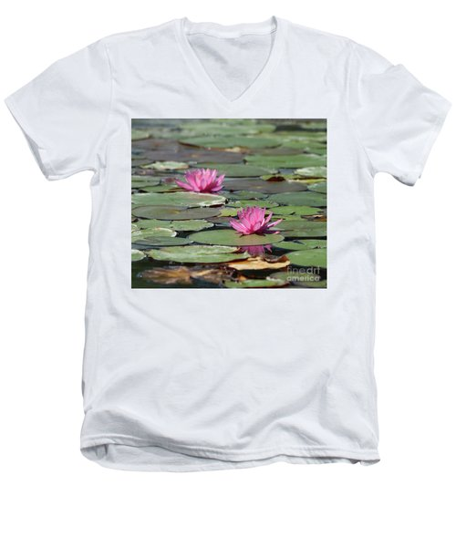 Pair Of Pink Pond Lilies Men's V-Neck T-Shirt