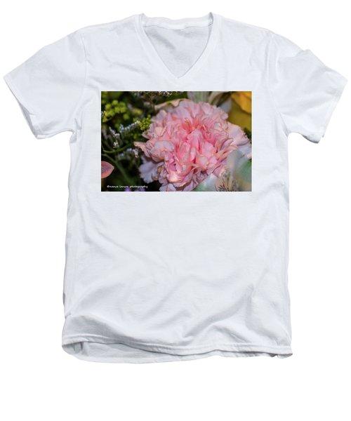 Pale Pink Carnation Men's V-Neck T-Shirt by Nance Larson