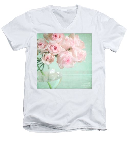 Pale Pink Roses Men's V-Neck T-Shirt by Lyn Randle