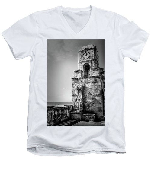 Palm Beach Clock Tower In Black And White Men's V-Neck T-Shirt
