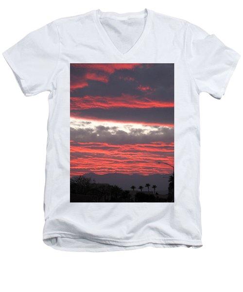 Men's V-Neck T-Shirt featuring the photograph Palm Desert Sunset by Phyllis Kaltenbach